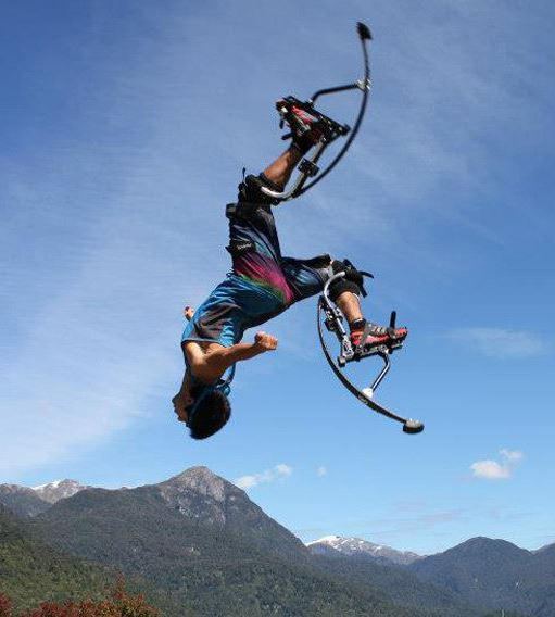 Jump Stilts performer, Kangaroo Shoes performer, air trekkers